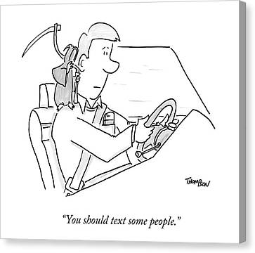 A Grim Reaper Sits On A Driver's Shoulder Canvas Print by Mark Thompson