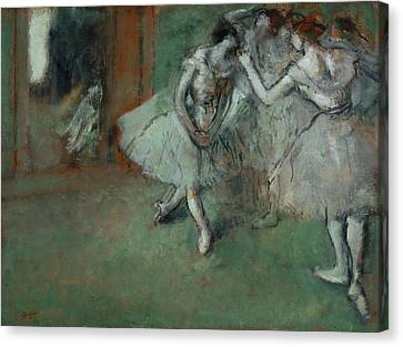 A Group Of Dancers Canvas Print by Edgar Degas