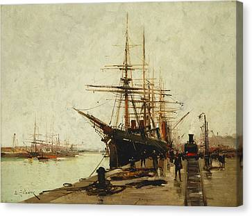 A Harbor Canvas Print by Eugene Galien-Laloue