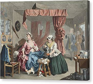 A Harlots Progress, Plate Lll Canvas Print by William Hogarth