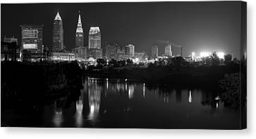 A Hazy Cleveland Night At Progressive Field Canvas Print by Clint Buhler