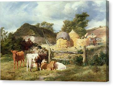 A Highland Croft, 1873 Canvas Print by Peter Graham