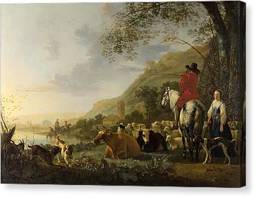 A Hilly Landscape With Figures Canvas Print by Aelbert Cuyp