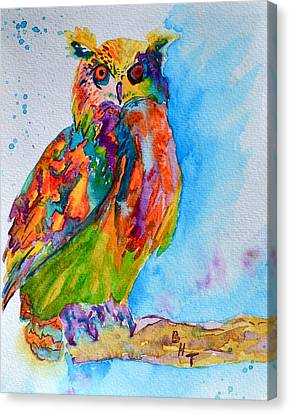 A Hootiful Moment In Time Canvas Print by Beverley Harper Tinsley