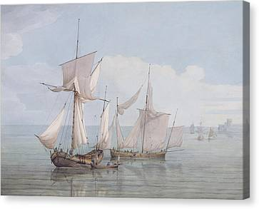A Hoy And A Lugger With Other Shipping On A Calm Sea  Canvas Print by John Thomas Serres
