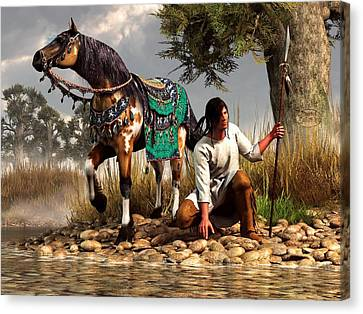 A Hunter And His Horse Canvas Print by Daniel Eskridge