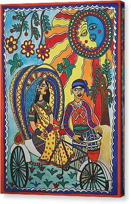 A Journey By Rickshaw Canvas Print by Shakhenabat Kasana