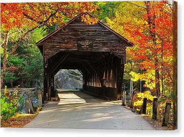 A Kancamagus Gem - Albany Covered Bridge Nh Canvas Print by Thomas Schoeller