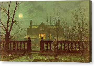 A Lady In A Garden By Moonlight Canvas Print by John Atkinson Grimshaw
