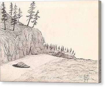 A Lakeshore... Sketch Canvas Print by Robert Meszaros