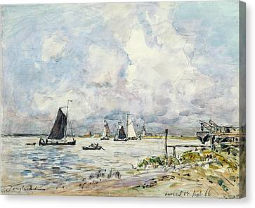 A Landing Stage On The Escaut Canvas Print by Johan-Barthold Jongkind
