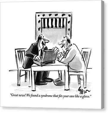 A Lawyer Is Seen Speaking With A Man In A Prison Canvas Print by Lee Lorenz