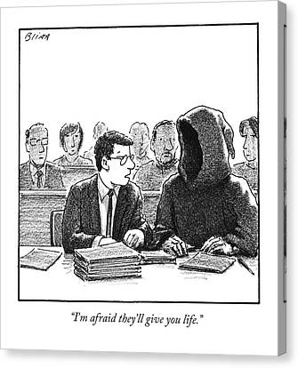 A Lawyer Talks To His Client Canvas Print by Harry Bliss
