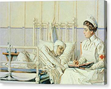 A Letter To Mother Canvas Print by Piotr Petrovitch Weretshchagin