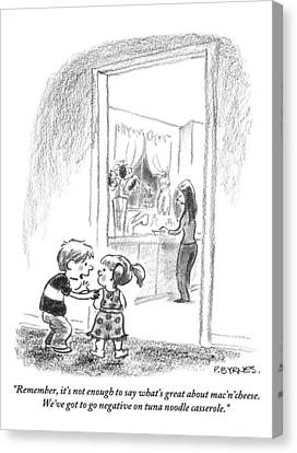 A Little Boy Speaks To A Little Girl Canvas Print by Pat Byrnes