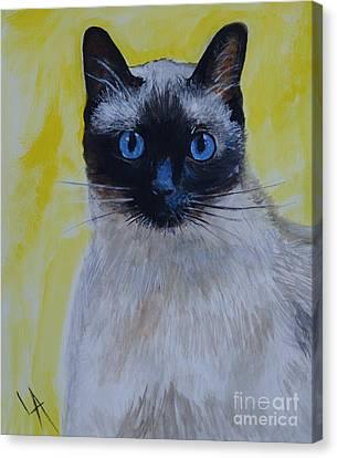 A Loving Siamese Canvas Print by Leslie Allen