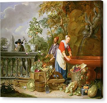 A Maid Washing Carrots At A Fountain Canvas Print by Nicolaas or Nicolaes Muys