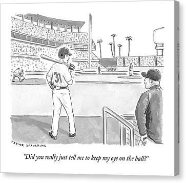 A Major League Baseball Player On Deck Canvas Print by Trevor Spaulding