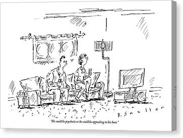 A Man And A Woman Sit In A Living Room Watching Canvas Print by Barbara Smaller