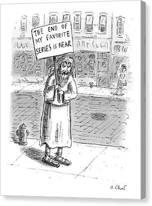 A Man In Torn Clothing On The Sidewalk Holds Canvas Print by Roz Chast