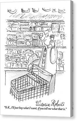 A Man Is Seen Pushing A Shopping Cart And Talking Canvas Print by Victoria Roberts