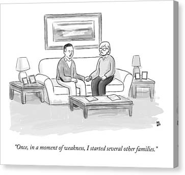 A Man Sitting On A Couch Canvas Print by Paul Noth