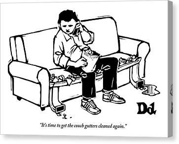 A Man Talking The Phone Canvas Print by Drew Dernavich