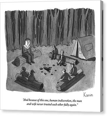 A Man Tells A Scary Story To Campers Canvas Print by Zachary Kanin