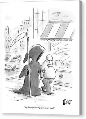 A Man Walks Down The Street With The Grim Reaper Canvas Print by Christopher Weyant