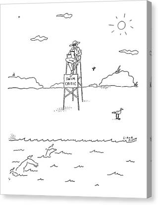 A Man With A Notebook Sits In A Lifeguard Chair Canvas Print by Liana Finck