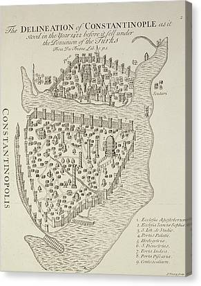 A Map Of Constantinople In 1422 Canvas Print by Cristoforo Buondelmonti