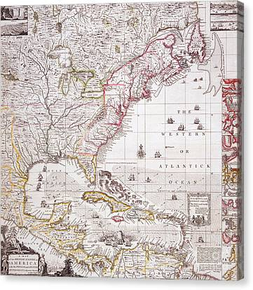 A Map Of The British Empire In America With The French Settlements Adjacent Thereto Canvas Print by Henry Popple