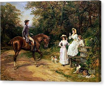 A Meeting By A Stile  Canvas Print by Heywood Hardy