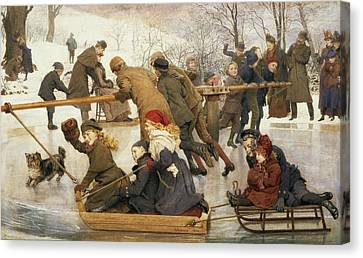 A Merry Go Round On The Ice, 1888 Canvas Print by Robert Barnes