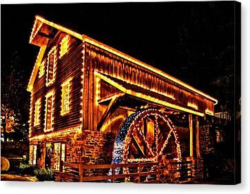 A Mill In Lights Canvas Print by DJ Florek