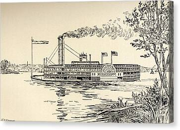 A Mississippi Steamer Off St Louis From American Notes By Charles Dickens  Canvas Print by EH Fitchew