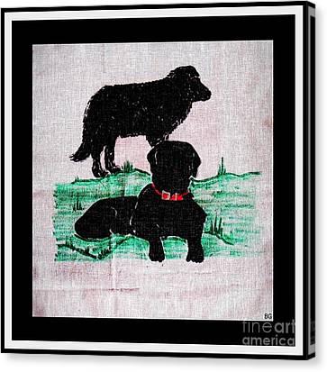 A Newfoundland Dog And A Labrador Retriever Canvas Print by Barbara Griffin