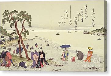 A Page From The Gifts Of The Ebb Tide Canvas Print by Kitagawa Utamaro