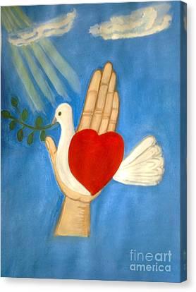 A Pigeon On A Hand Canvas Print by Zornitsa Tsvetkova