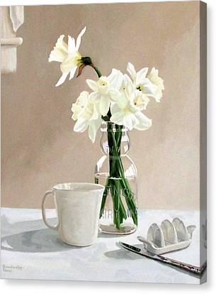 A Pint Of Daffodils Canvas Print by Sandra Chase