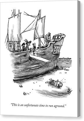 A Pirate Shit Stuck On Land Canvas Print by Frank Cotham