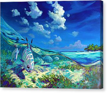 A Place I'd Rather Be - Caribbean Permit Fly Fishing Painting Canvas Print by Savlen Art