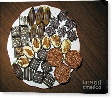 A Plate Of Chocolate Sweets Canvas Print by Ausra Huntington nee Paulauskaite