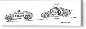 A Police Car Being Chased By A Police Police Car Canvas Print by Mick Stevens