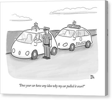 A Police Officer In A Futuristic Smart-car Pulls Canvas Print by Paul Noth