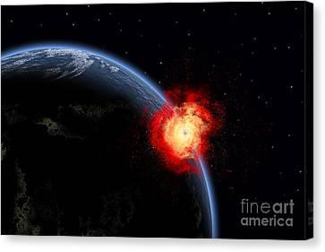 A Powerful Explosion On Earths Surface Canvas Print by Mark Stevenson