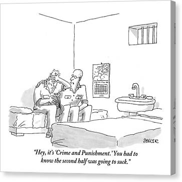 A Prison Inmate Is Seen Comforting Another Inmate Canvas Print by Jack Ziegler
