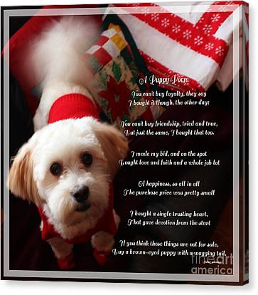 A Puppy Poem And A Puppy Dressed For Christmas Canvas Print by Barbara Griffin