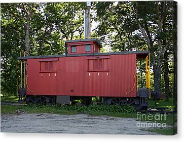 A Red Caboose - Scenic Railroad North Conway Canvas Print by Christiane Schulze Art And Photography