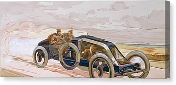 A Renault Racing Car Canvas Print by Ernest Montaut
